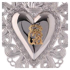 Ex-voto en coeur flamme ange 15x11 cm s2