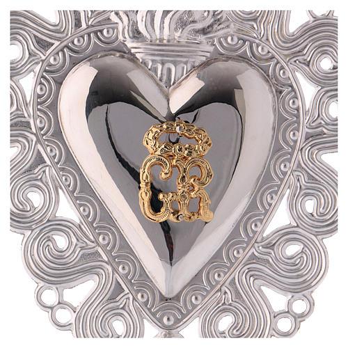 Ex-voto en coeur flamme ange 15x11 cm 2