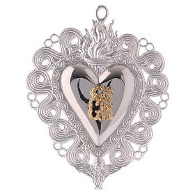 Ex-voto, Votive heart with flame and angel 15x11cm s1