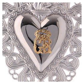 Ex-voto, Votive heart with flame and angel 15x11cm s2