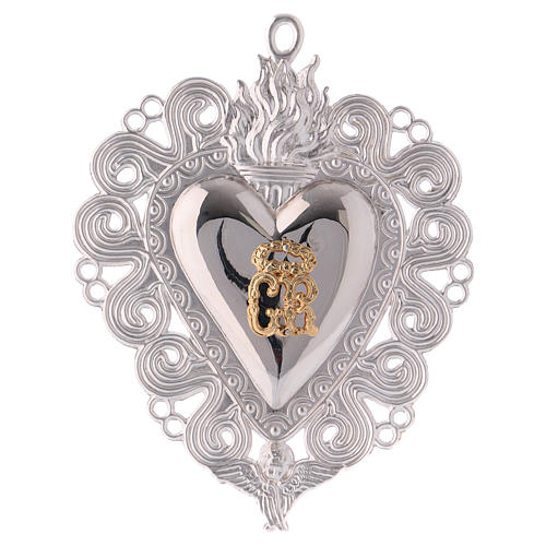 Ex-voto, Votive heart with flame and angel 15x11cm 1