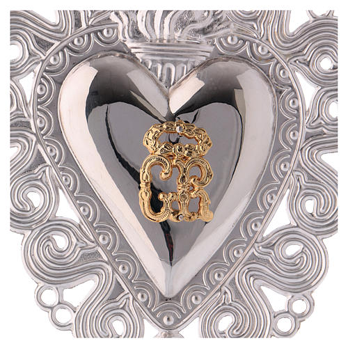 Ex-voto, Votive heart with flame and angel 15x11cm 2