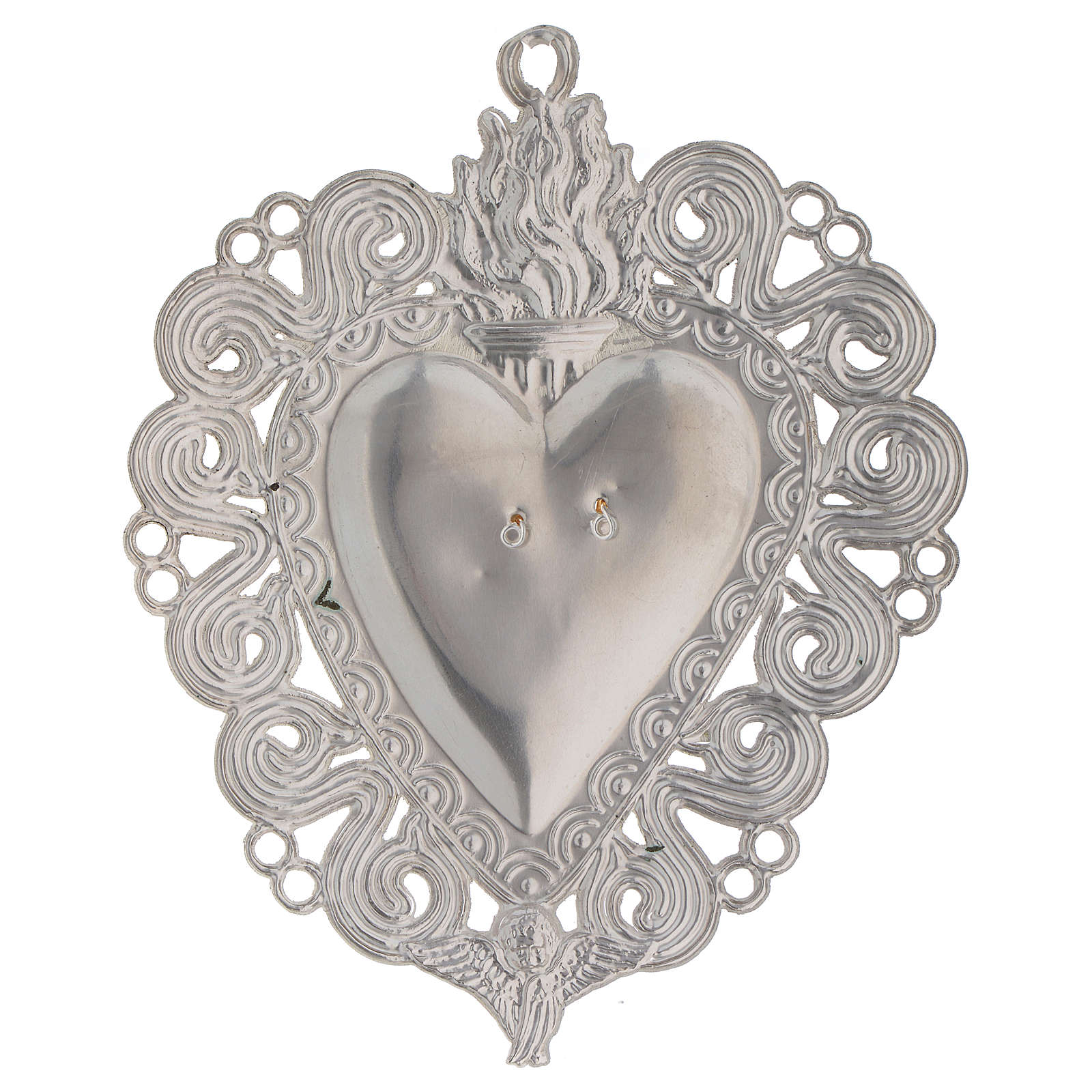 Ex-voto, Votive heart with flame and angel 11.5x8.5cm 3