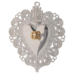 Ex-voto, Votive heart with flame and angel 11.5x8.5cm s1