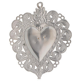 Ex-voto, Votive heart with flame and angel 11.5x8.5cm s2