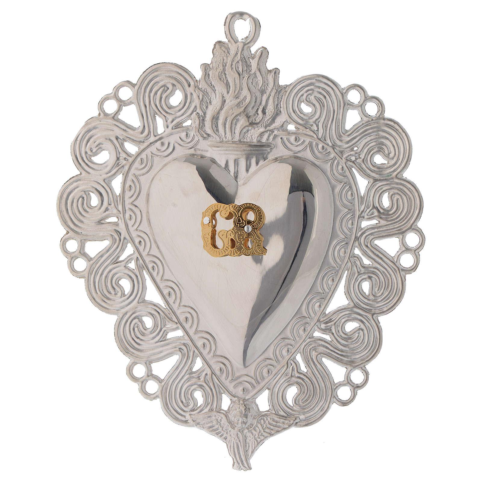 Exvoto Corazón llama y ángel 11.5 x 8.5 cm. 3