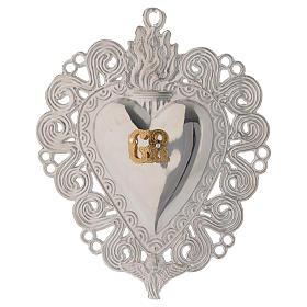 Exvoto Corazón llama y ángel 11.5 x 8.5 cm. s1
