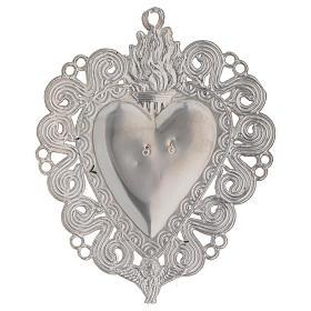 Exvoto Corazón llama y ángel 11.5 x 8.5 cm. s2