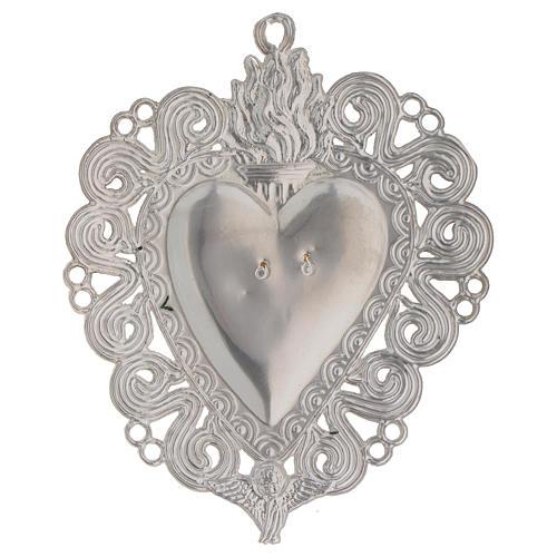 Exvoto Corazón llama y ángel 11.5 x 8.5 cm. 2