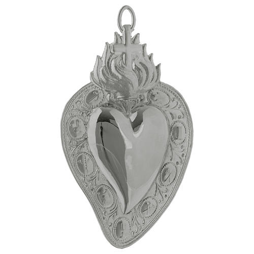 Ex-voto, Votive heart with cross and flame 13.5x8cm 1