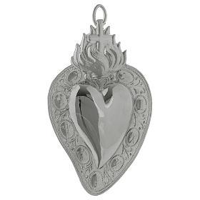 Exvotos: Corazón votivo cruz y llama 13.5 x 8 cm.