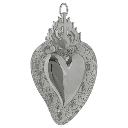 Corazón votivo cruz y llama 13.5 x 8 cm. 1