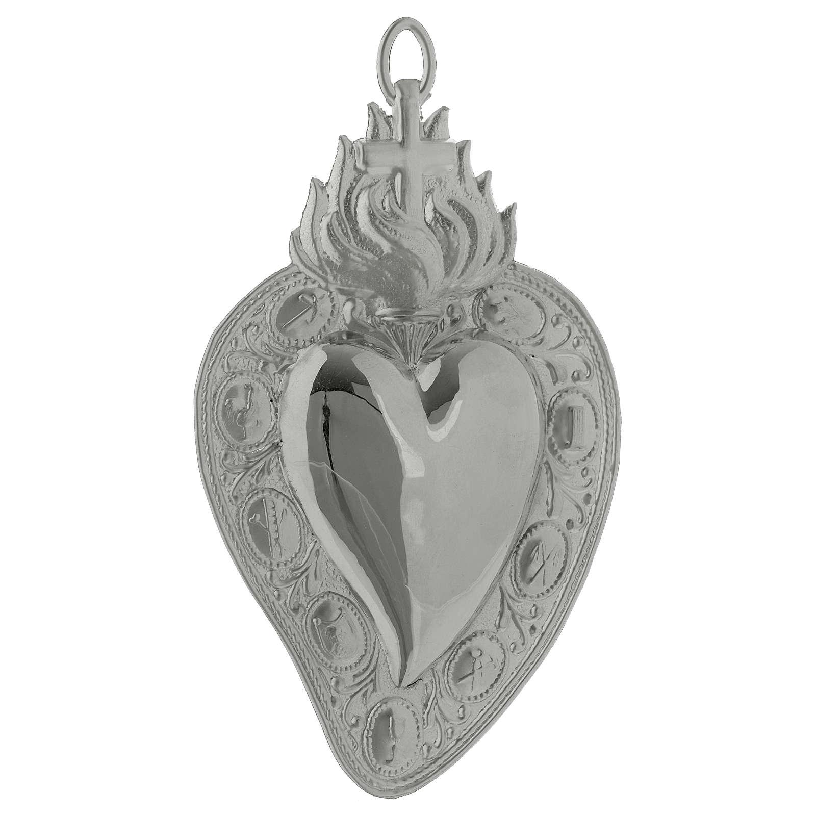 coeur votif croix flamme 13.5x8 cm 3