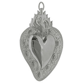 Coração votivo cruz e chama 13,5x8 cm s1