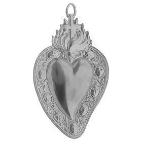 Coração votivo cruz e chama 13,5x8 cm s2