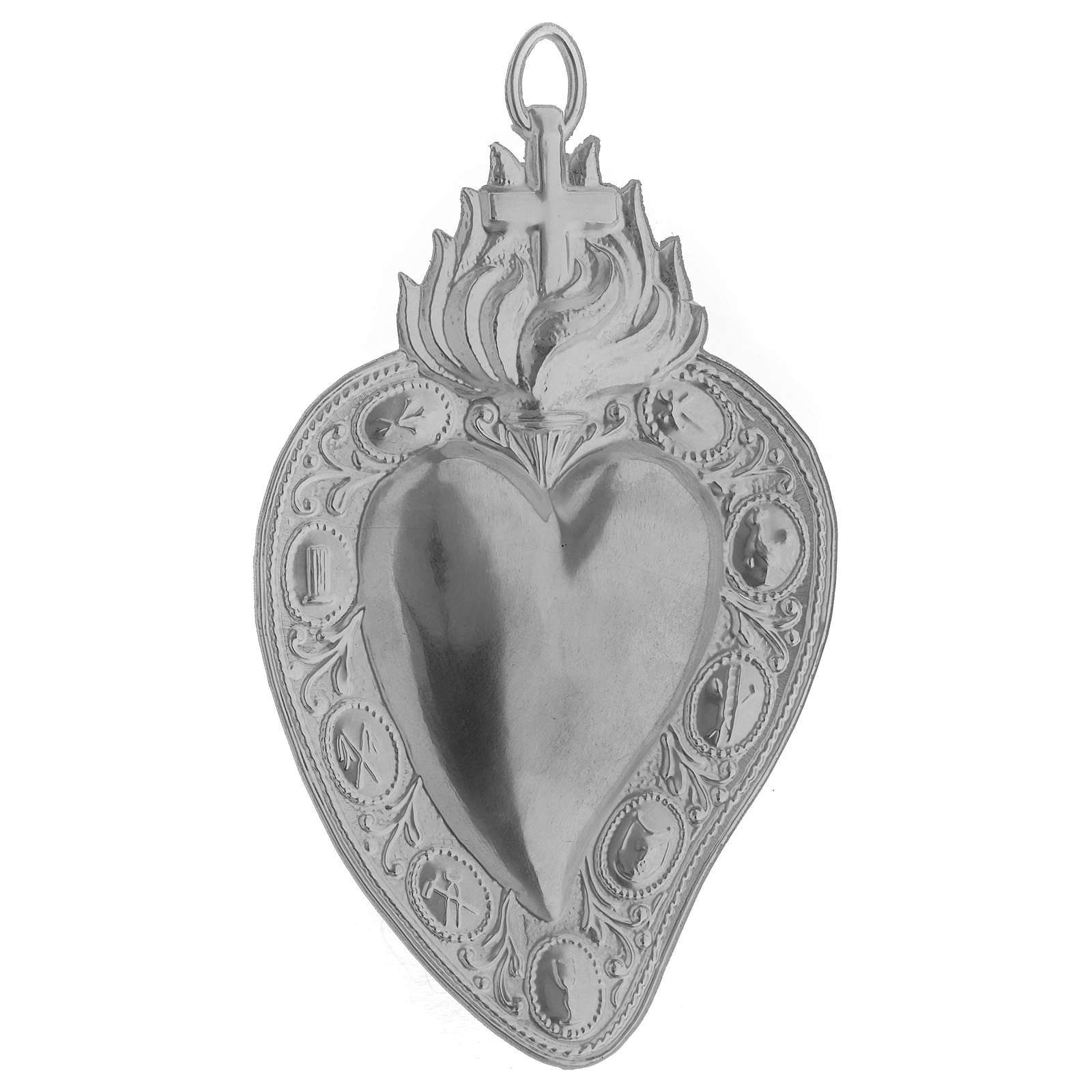 Ex-voto, Votive heart with cross and flame 13.5x8cm 3