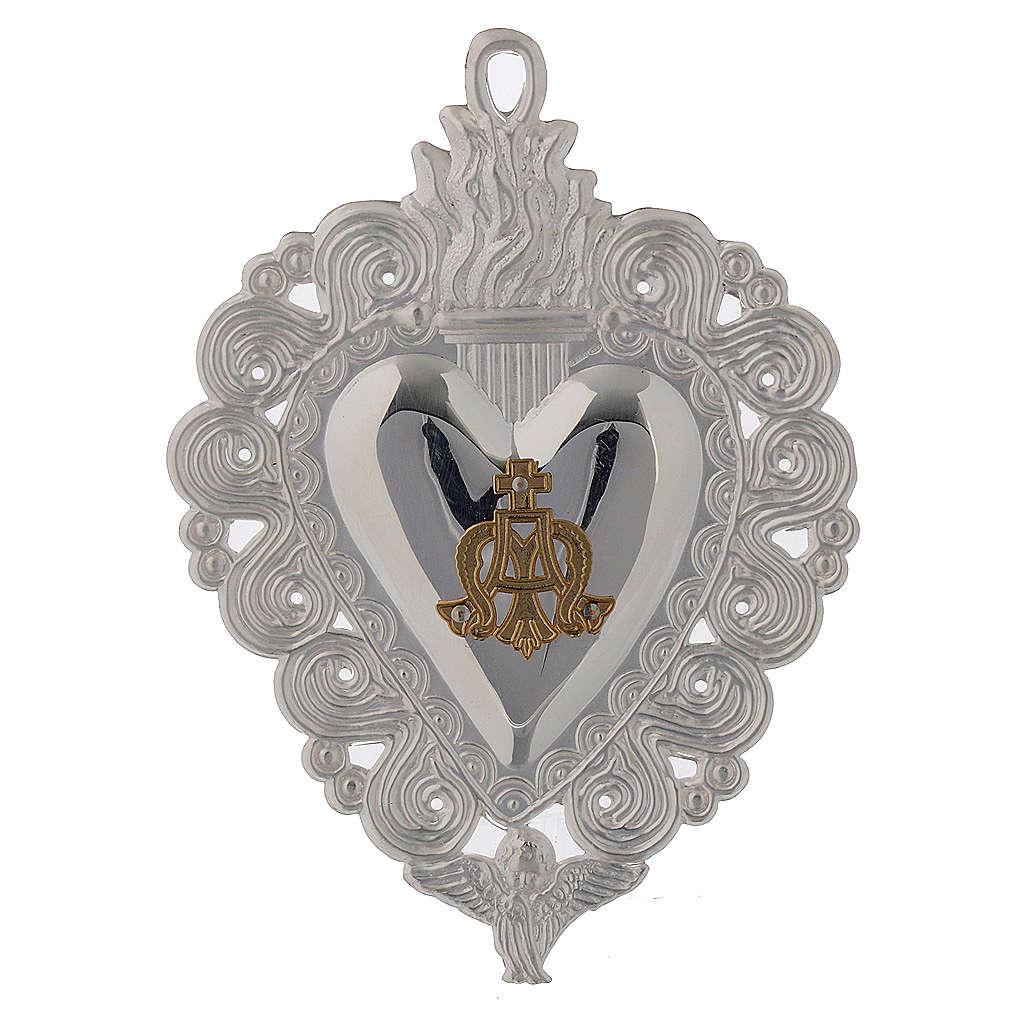 Votivgabe flammendes Herz Ave Maria 9.5x7.5 cm<br> 3