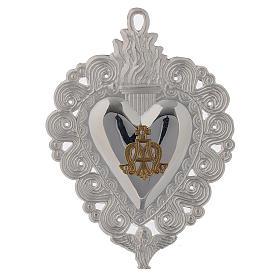 Votivgabe flammendes Herz Ave Maria 9.5x7.5 cm<br> s1