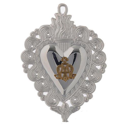 Votivgabe flammendes Herz Ave Maria 9.5x7.5 cm<br> 1