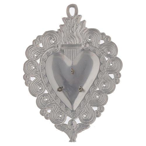 Votivgabe flammendes Herz Ave Maria 9.5x7.5 cm<br> 2