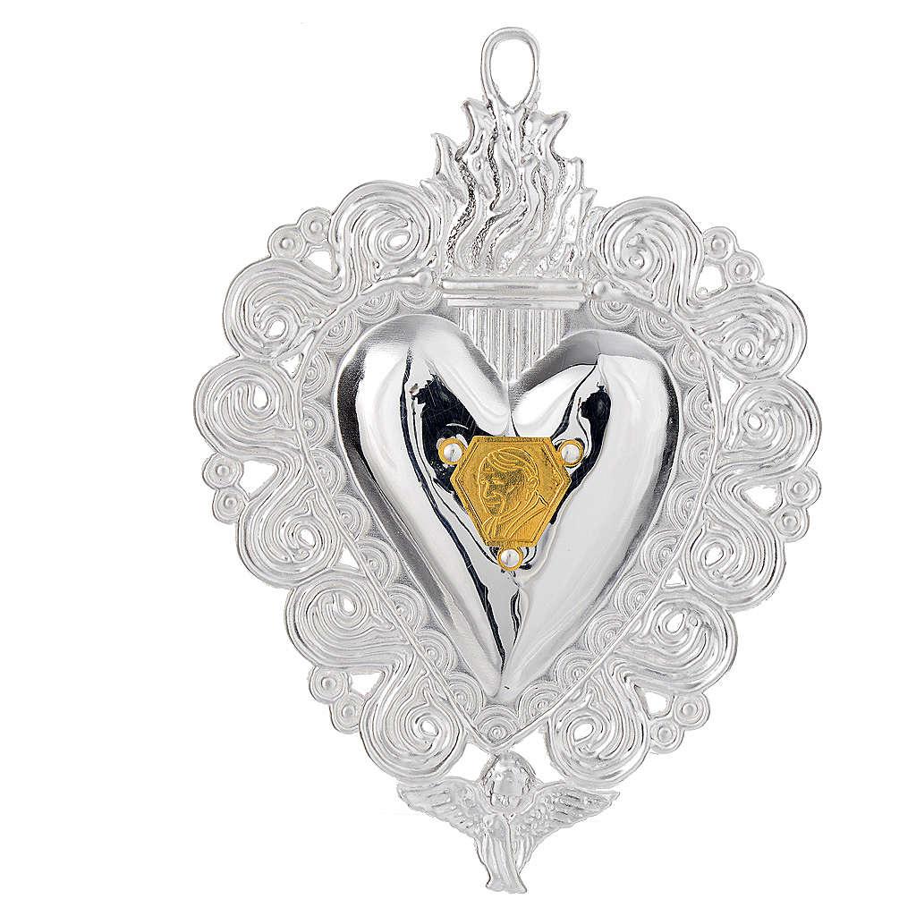 Votivgabe flammendes Herz mit Bildnis Papst Johannes Paul II 9.5x7.5 cm 3