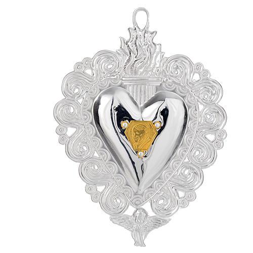 Votivgabe flammendes Herz mit Bildnis Papst Johannes Paul II 9.5x7.5 cm 1