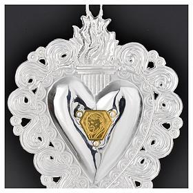 Votive heart with Pope John Paul II 9.5x7.5cm s4