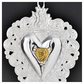 Votive heart with Pope John Paul II 9.5x7.5cm s2