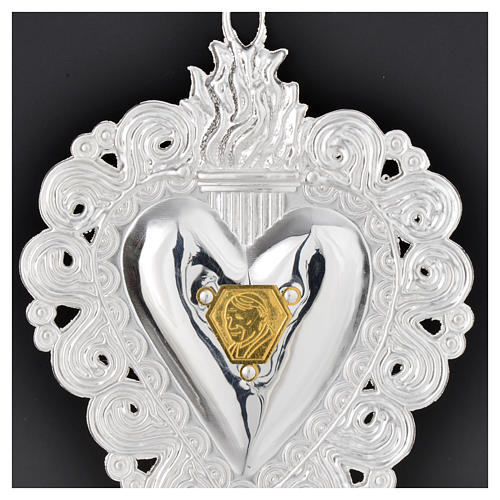 Votive heart with Pope John Paul II 9.5x7.5cm 4