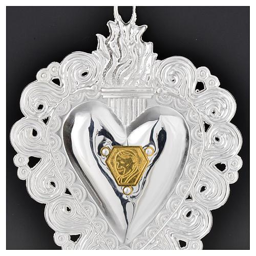 Votive heart with Pope John Paul II 9.5x7.5cm 2