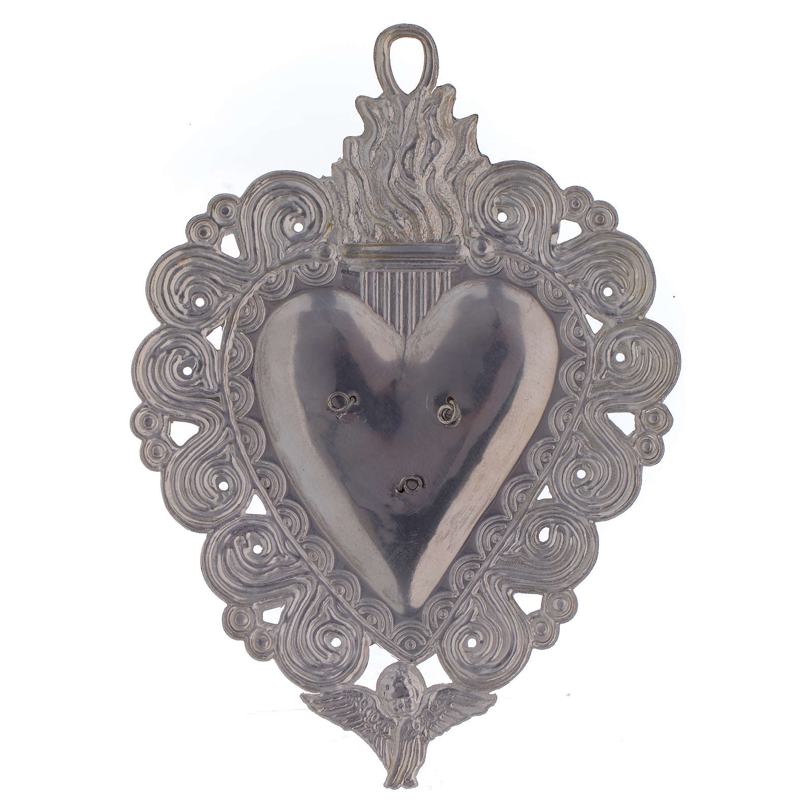 Votive heart with Padre Pio 9.5x7.5cm 3
