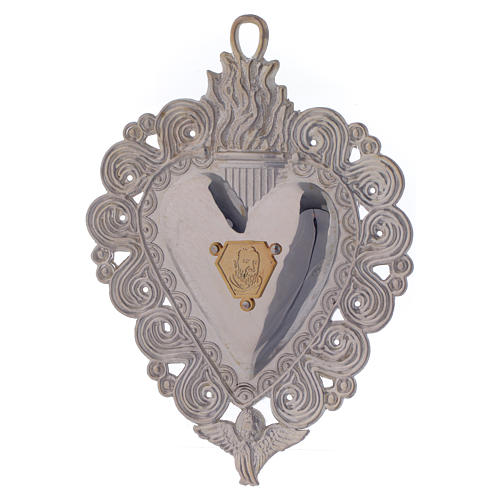 Votive heart with Padre Pio 9.5x7.5cm 1