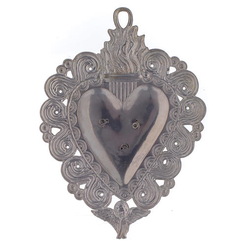 Votive heart with Padre Pio 9.5x7.5cm 2