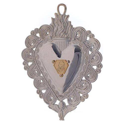 Cuore votivo Padre Pio 9.5x7.5 cm 1
