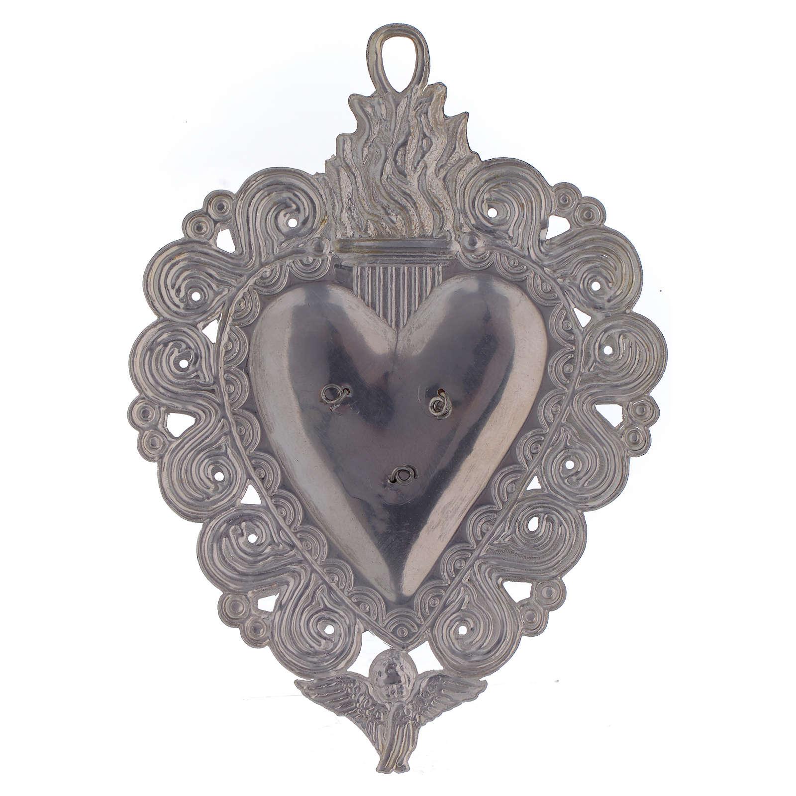 Votive heart with Padre Pio 9.5x7.5cm 3