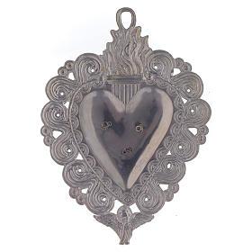 Votive heart with Padre Pio 9.5x7.5cm s2