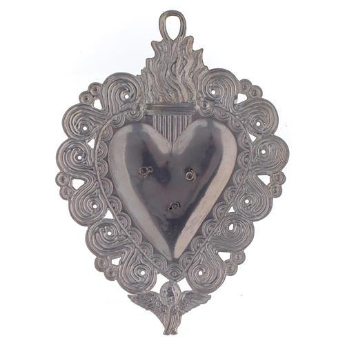 Votive heart with Padre Pio 9.5x7.5cm 2