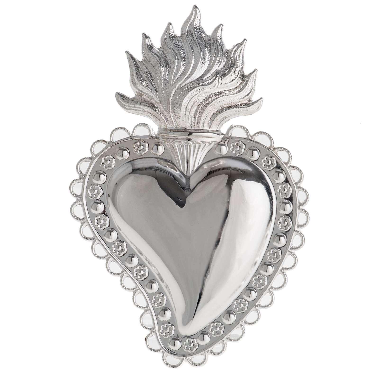 Votivgabe flammendes Herz mit floralem Dekor 10.5x7 cm 3