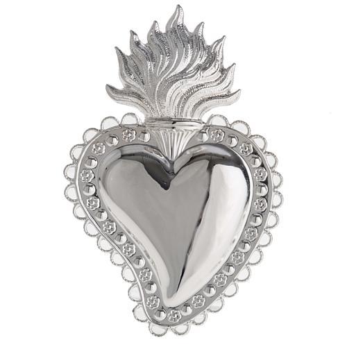 Votivgabe flammendes Herz mit floralem Dekor 10.5x7 cm 1