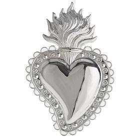 Corazón votivo decoración floral 10,5 x 7 cm s1