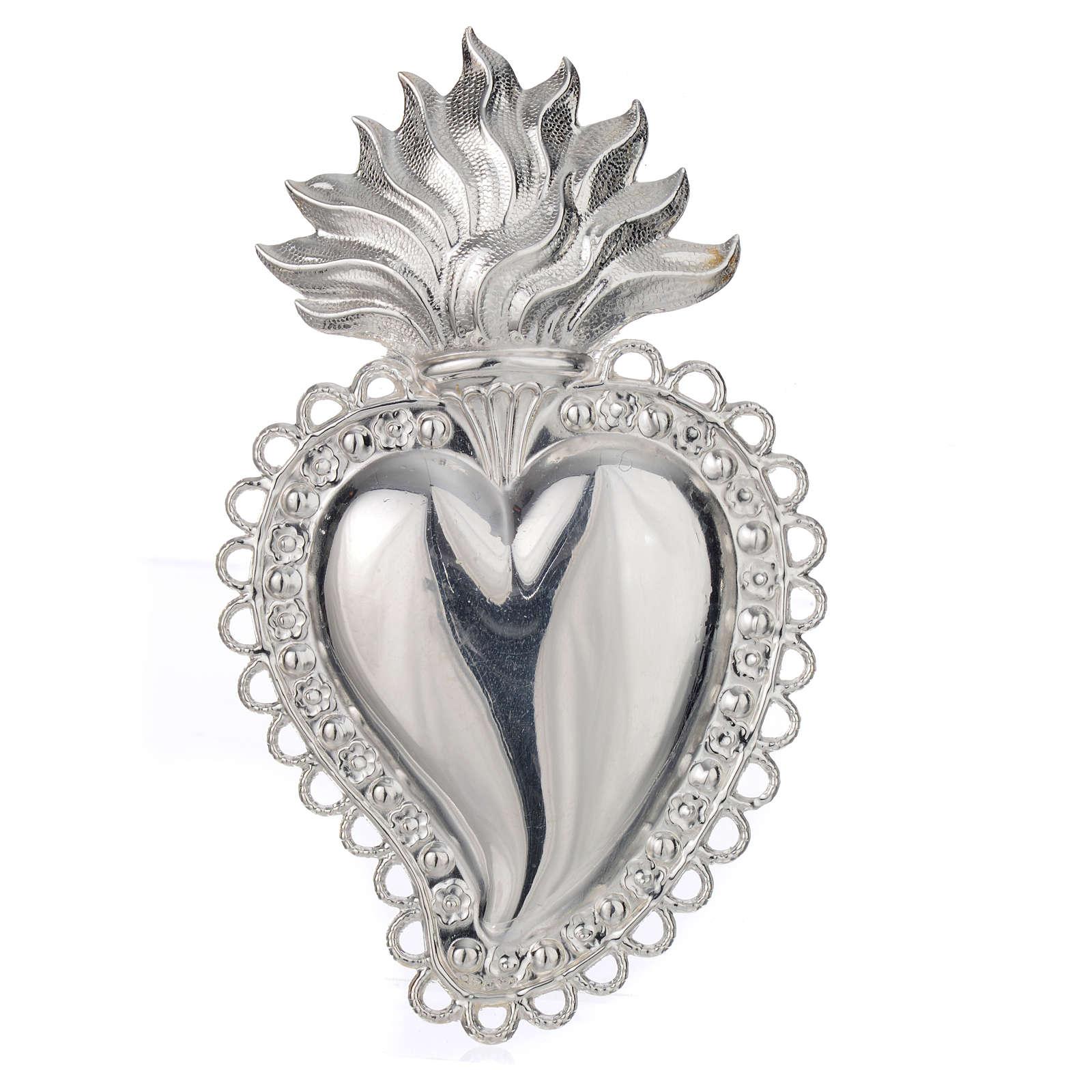Coeur votif décor  fleurs 11.5x7 cm 3