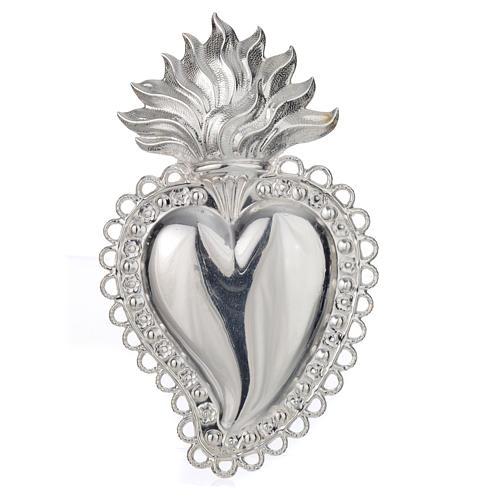 Coeur votif décor  fleurs 11.5x7 cm 1