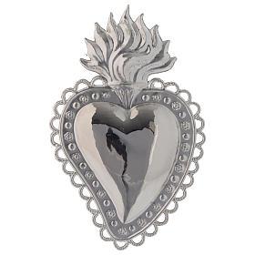 Ex-Voto: Coeur votif décor  fleurs 16x10 cm