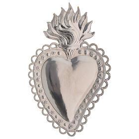 Coração ex-voto decoração floral 16x10 cm s2