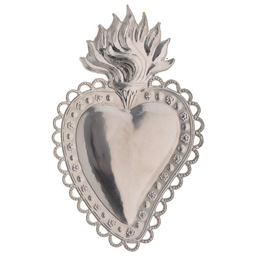 Votive sacred heart with floral decoration 16x10cm 2