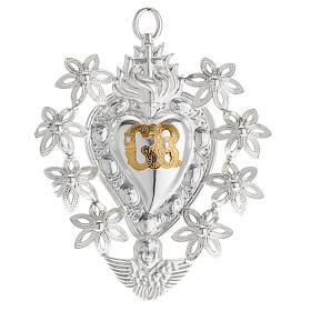 Ex-Voto: Coeur votif décor  fleurs 11x8.5 cm