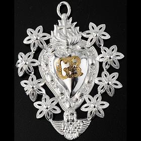 Coeur votif décor  fleurs 11x8.5 cm s2