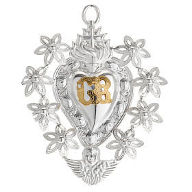 Votive sacred heart with flowers 11x8.5cm s1