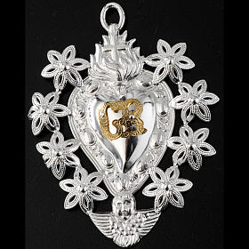 Votive sacred heart with flowers 11x8.5cm s2