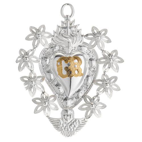 Votive sacred heart with flowers 11x8.5cm 1